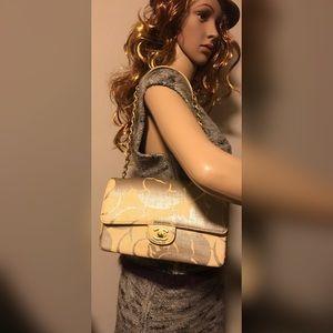 Chanel Coated Canvas turn lock chain Shoulder bag